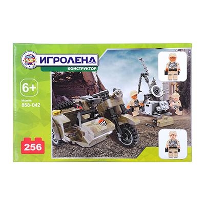 ИГРОЛЕНД Армия Конструктор Мотоцикл с военными, 256дет., пластик, 28х18х4см - 1