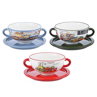 """Набор посуды для бульона 2 предмета, керамика, 3 дизайна, MILLIMI """"Кулинария"""" - 1"""