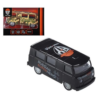 """ИГРОЛЕНД Машинка """"Микроавтобус BY"""", металл, свет+звук+инерция, 2 дизайна, 11х4,5х4,5см - 1"""