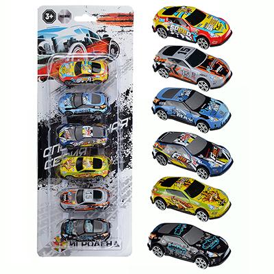 ИГРОЛЕНД Набор 6 машинок, ABS, 34,1х13,1х3,3см, 6 дизайнов, A-01 - 1