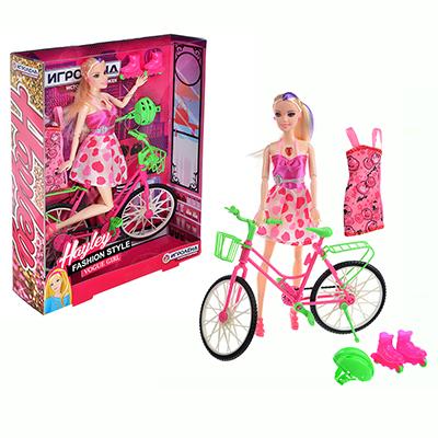 ИГРОЛЕНД Кукла с велосипедом и аксессуарами, 30см, PVC ,PS, 26х33х7см - 1