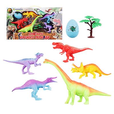 ИГРОЛЕНД Набор фигурок динозавров, 7пр., ПВХ, ПС, 47x27x6см, 2 дизайна - 1