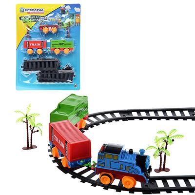 ИГРОЛЕНД Поезд 2 вагона с рельсами,движение,2хАА ,пластик, 38,6x28,6x4,5см - 1
