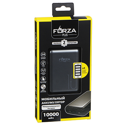 Аккумулятор мобильный FORZA, 10000 мАч, 2 USB, 2A, металлик, мягкий пластик - 1