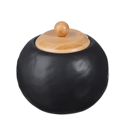 "Сахарница 500 мл, матовая керамика/бамбук, MILLIMI ""Черный бархат "" - 1"
