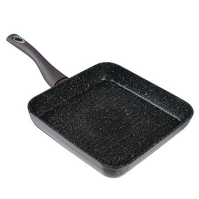 SATOSHI Валькур Сковорода-гриль литая 26х26см, антипригарное покрытие мрамор, индукция - 1