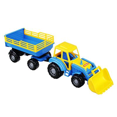 ПОЛЕСЬЕ Трактор с прицепом и ковшом, пластик, 50х13,4х13,5см, 2 дизайна - 1