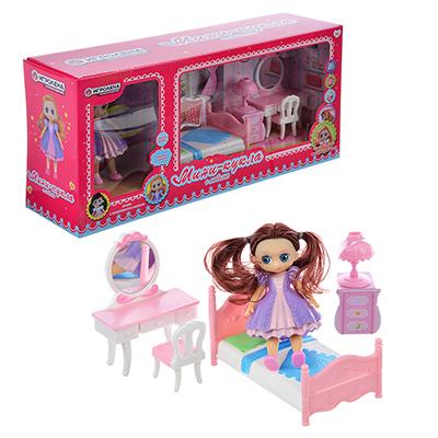 ИГРОЛЕНД Набор игровой кукла с мебелью, 6-22пр., пластик, 40х18х10см, 2 дизайна - 1