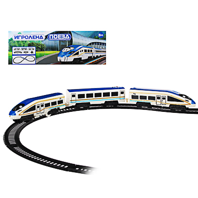 ИГРОЛЕНД Поезд с железнодорожными путями, свет, звук, движ., пластик, 2АА, 55,5-56,5х20-27х4,5-5см - 1