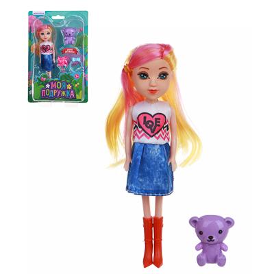 ИГРОЛЕНД Кукла с цветными волосами, 15 см, PP,PVC, полиэстер, 6х17,5х5см, 6 дизайнов - 1