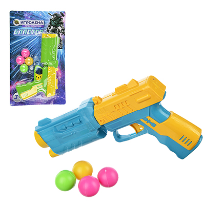 ИГРОЛЕНД Пистолет стреляющий шариками, 4 шарика, PP,PVC, 17х28,5х4см, 3 дизайна - 1
