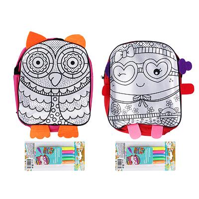 ХОББИХИТ Рюкзак для раскрашивания, 5 фломастеров, полиэстер, пластик, 24х30х9см, 2 дизайна - 1