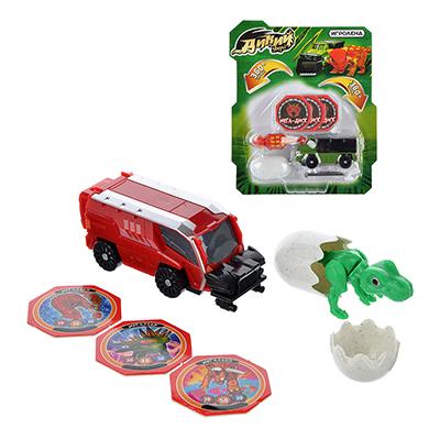 """ИГРОЛЕНД Машинка """"Дикий зверь"""", 6 предметов, пластик, 19х22, 2х5см, 5 дизайнов - 1"""