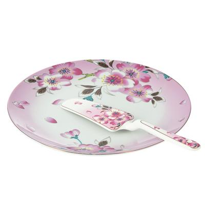 Набор для торта 2 предмета (блюдо, лопатка), фарфор - 1