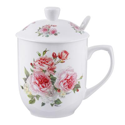 Чайный сервиз MILLIMI Романс (кружка, ситечко, ложка, крышка), костяной фарфор - 1