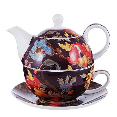 Чайный сервиз MILLIMI Ботаника бордо (чайник, чашка, блюдце) костяной фарфор - 1