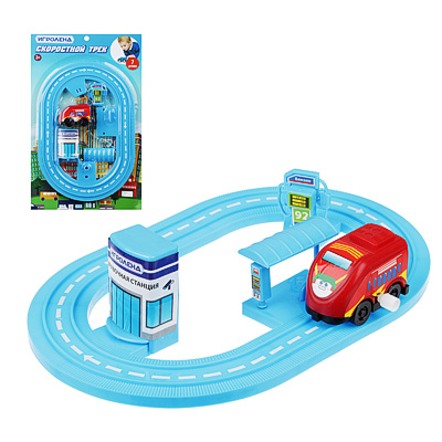 ИГРОЛЕНД Автотрек с машинкой и зданием, пластик, 30х18,5х3см, 6 дизайнов - 1
