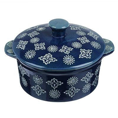 MILLIMI Горшочек с крышкой для запекания и сервировки, керамика, 16,5х13,5х10см, 480мл, синий - 1