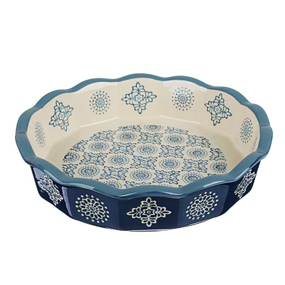 MILLIMI Форма для запекания и сервировки круглая, керамика, 22х4,5см, 850мл, синий - 1