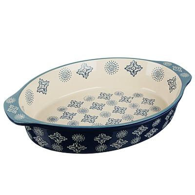 MILLIMI Форма для запекания и сервировки овальная с ручками, керамика, 31х20,5х6см, 1500мл, синий - 1