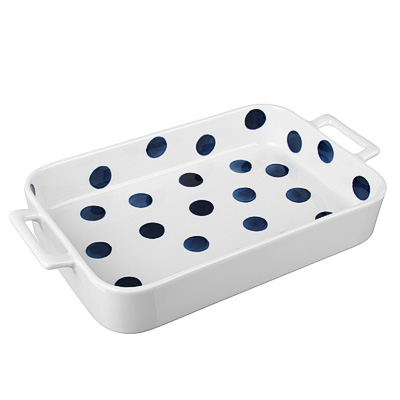 MILLIMI Синий горох Форма для запек. и сервировки прямоуг. с ручками, 1300мл, 31х17,5х5см, керамика - 1