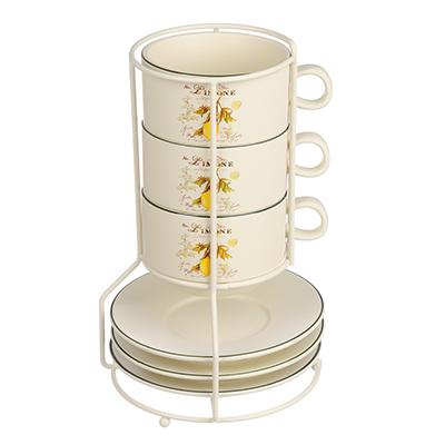 MILLIMI Вилладжио Набор чайный 6 пр. на метал. подст, 16х16х24,5см, чаш. 260мл, блюд. 16см, керамика - 1
