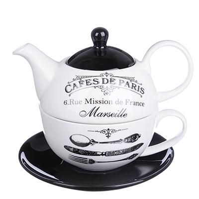 """MILLIMI Кафе де Пари Набор чайный """"Эгоист"""", чайник 380мл, чашка 320мл, блюдце 15см, керамика - 1"""