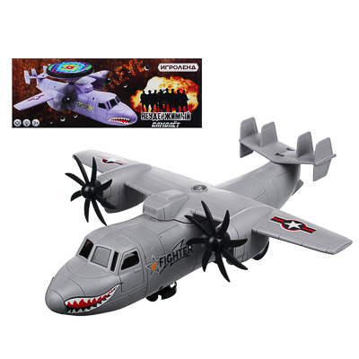 """ИГРОЛЕНД Самолет """"Неудержимый"""", свет, звук, движение, датчики препятствий, 3АА, пластик, 35х13х14см - 1"""