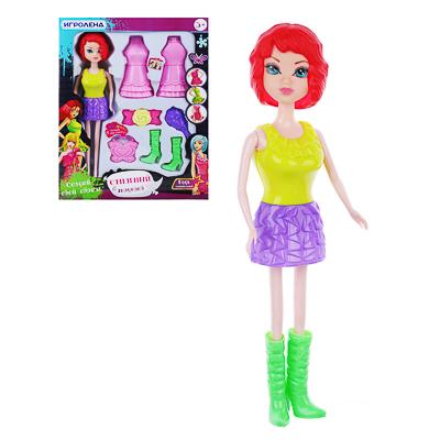 ИГРОЛЕНД Кукла с аксессуарами и париками, 9 пр., PP, 28,5х36х7см, 3 дизайна - 1