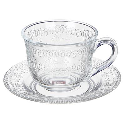 """Чайная пара (кружка 200мл с блюдцем), стекло, """"Ажур"""" - 1"""