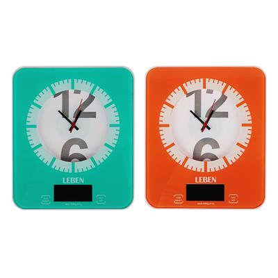 LEBEN Весы кухонные электронные с часами, макс.нагр.до 5кг (точн.измер. 1 гр), пластик, 2 цвета 268-053 - 1