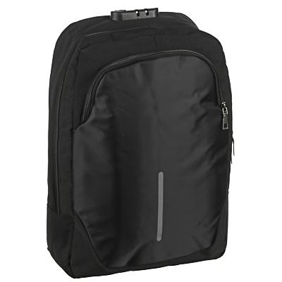 Рюкзак подростковый, 42x29x11см, ПЭ, 2отд,1карм, спинка с эргон.элем,мет.ручка,код.замок,USB,черный - 1