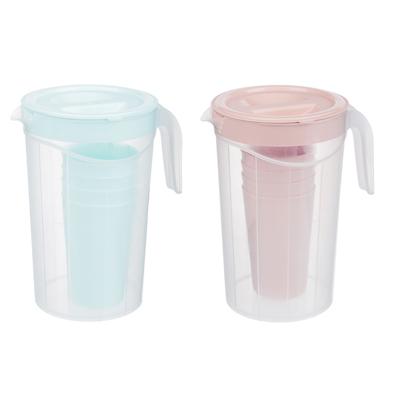 Набор посуды, 6 пр.: кувшин 2л, стаканы 4шт 0,33л, пластик, 2 цвета - 1