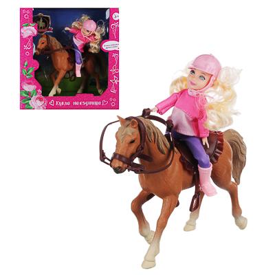ИГРОЛЕНД Кукла шарнирная в виде наездницы с лошадкой, ПВХ, РР, 23,3x10x23,5см - 1