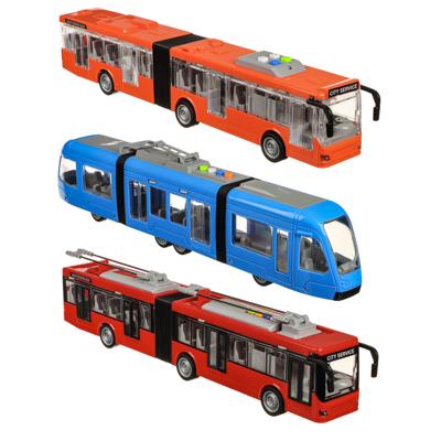 ИГРОЛЕНД Городской транспорт, ABS, 3хLR44, свет, звук, инерция, двери откр, 48х16,5х11,5см, 3 диз - 1