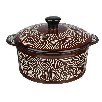MILLIMI Горшочек с крышкой для запекания и сервировки, керамика, 16,5х13,5х10см, 480мл, шоколад - 1