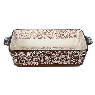 MILLIMI Форма для запекания и сервировки прямоугольная с ручками, керамика, 27,5х17,5х6см, шоколад - 1