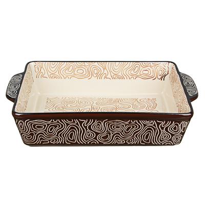 MILLIMI Форма для запекания и сервировки прямоугольная с ручками, керамика, 31х19,5х6,5см, шоколад - 1