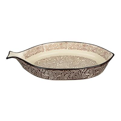MILLIMI Форма для запекания и сервировки, рыба, керамика, 33х16,5х5см, шоколад - 1