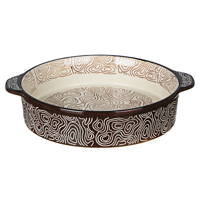 MILLIMI Форма для запекания и сервировки круглая с ручками, керамика, 29,5х25х6см, шоколад - 1