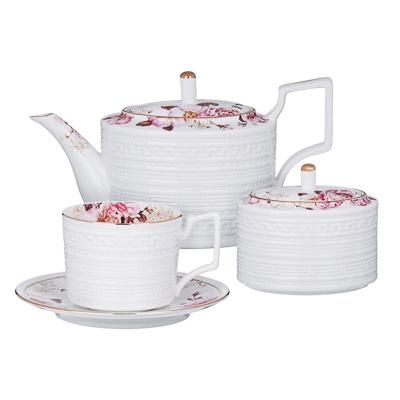 MILLIMI Роскошь Набор чайный 14 пр., чашка 290мл, чайник 1150мл, сахарница 380мл, кост. фрф - 1