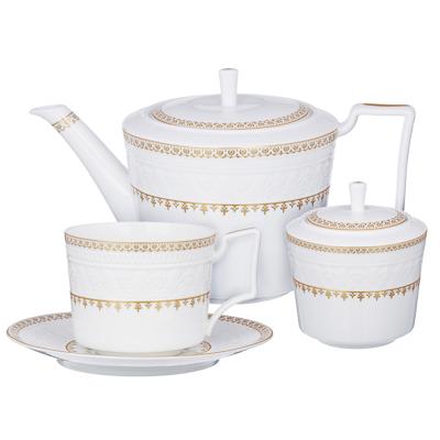 MILLIMI Наполеон Набор чайный 14 пр., чашка 300мл, чайник 1250мл, сахарница 350мл, кост. фрф - 1