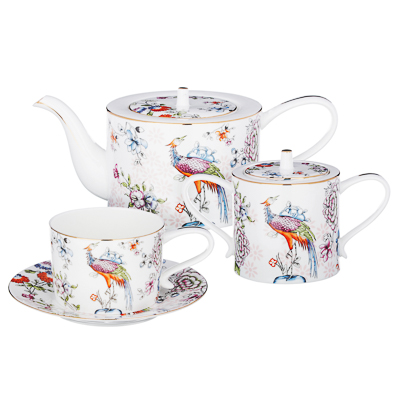 MILLIMI Райская птица Набор чайный 14 пр., чашка 270мл, чайник 1150мл, сахарница 450мл, кост. фрф - 1