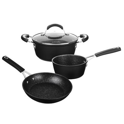 SATOSHI Ортез Набор посуды 4пр, сковорода 24см, ковш 16см, кастрюля 20см,крышка,а/приг.покр,индукция - 1