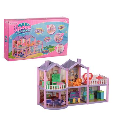 ИГРОЛЕНД Домик для кукол с мебелью, 111 дет., ABS,PP, картон, 31х20х6,5см - 1