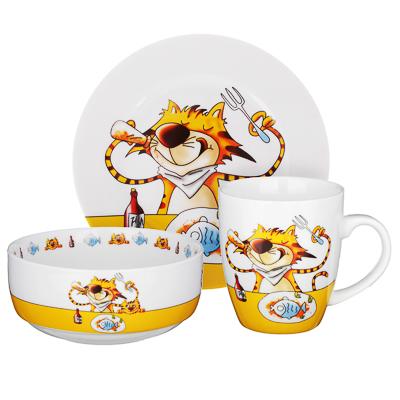 MILLIMI Полосатый кот Набор детской посуды 3 предмета, костяной фарфор - 1
