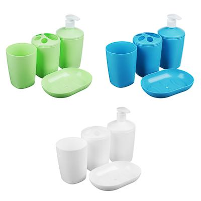 """Набор для ванной 4 пр. """"Классика"""" (мыльница, стакан, дозатор, подставка для з/щ), пластик, 3 цвета - 1"""