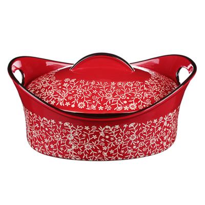 MILLIMI Утятница с крышкой, керамика, 31,5х21,5х14см, красный - 1