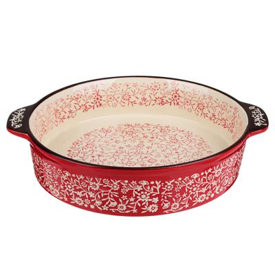 MILLIMI Форма для запекания и сервировки круглая с ручками, керамика, 29,5х25,5х6см, красный - 1