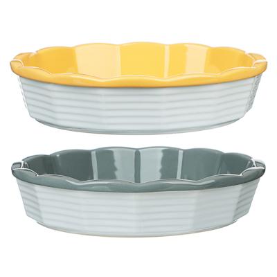 MILLIMI Форма для запекания и сервировки круглая, керамика, 22х5см, рельеф, 2 цвета - 1
